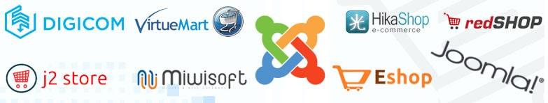 سیستم مدیریت محتوای جوملا چندین افزونه فروشگاهی اعم از افزونهVirtue Mart , افزونه Digi Com , Mijo Shop افزونه , افزونه Hika Shop , افزونه j2 Store , red SHOP , افزونه Eshop