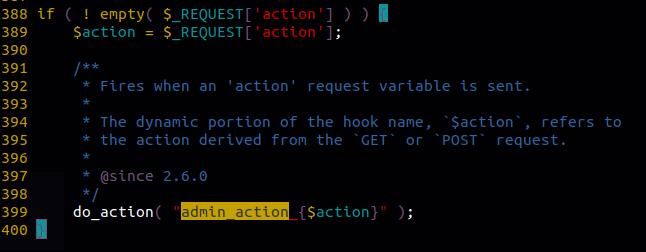 عامل hook مدیریت, Admin Action Hook